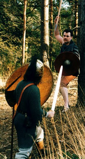 Confrontation between and Anglo-Saxon warrior and a skirmisher